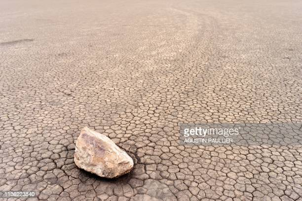 The Racetrack Playa sailing stones are pictured in Death Valley, California, on April 7, 2019. - The Racetrack is a dry lakebed known for its moving...