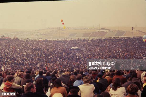 The racetrack's bleachers could not accommodate the rumoured number of 300000 that the concert attracted