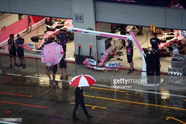 The Racing Point team work in the garage during final practice for the Formula One Grand Prix of Styria at Red Bull Ring on July 11, 2020 in...