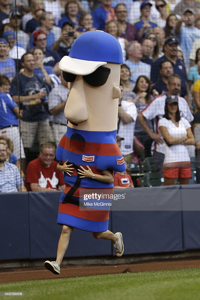 The Racing Sausages during the Interleague game between the New York Mets and the Milwaukee Brewers at Miller Park on July 26, 2014 in Milwaukee, Wisconsin.