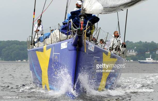 The racing yacht 'Esimit Europa 2' starts for the first regatta from Kiel to Eckernfoerde in the Fjord of Kiel Germany 22 June 2013 More than 3...