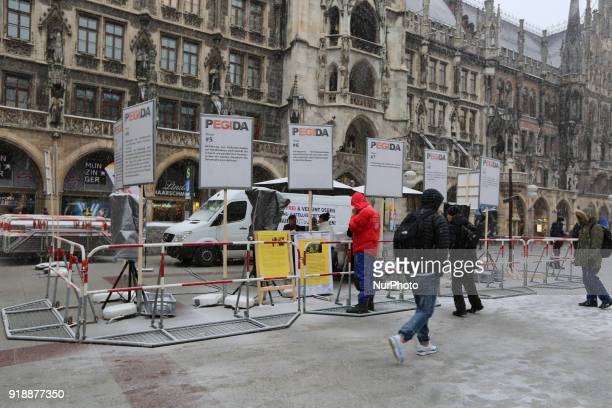 The racist Pegida movement started to rally again in Munich Germany on February 15 2018 They held different rallies a week