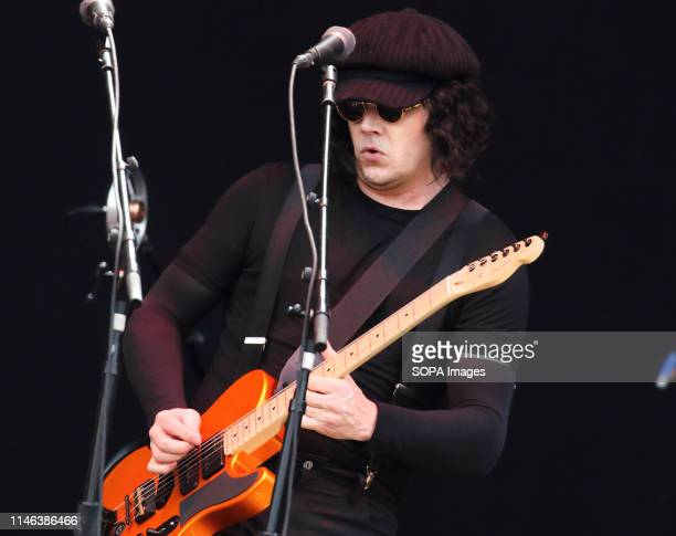 The Raconteurs Jack White seen performing live on stage during the All Points East Festival at Victoria Park in London