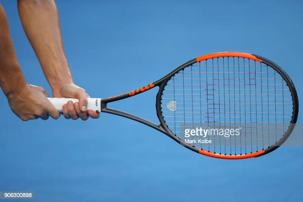 The racquet of Simona Halep of Romania is seen in her second round match against Eugenie Bouchard of Canada on day four of the 2018 Australian Open...