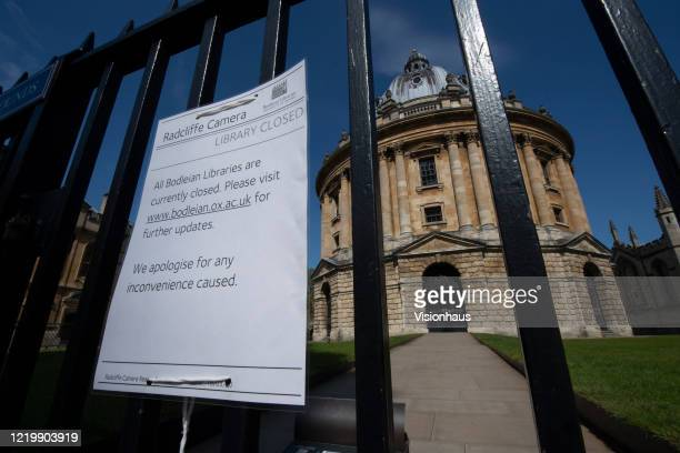 The Radcliffe Camera in a near deserted Radliffe Square closed because of the Coronavirus lockdown on April 19 2020 in Oxford England