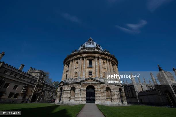 The Radcliffe Camera in a near deserted Radliffe Square with Brasenose College to the left and All Souls College to the right closed because of the...