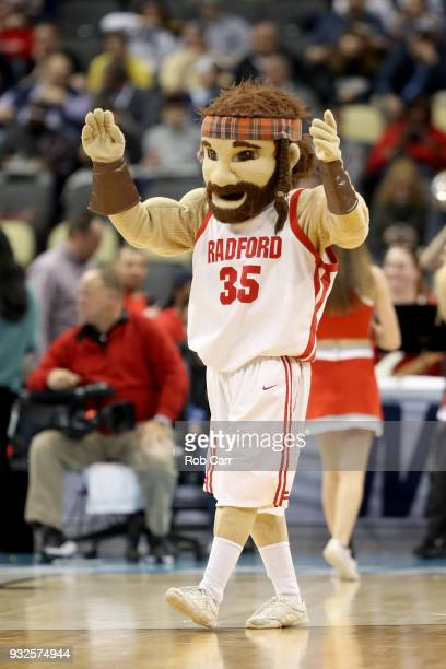 The Radford Highlanders mascot performs against the Villanova Wildcats during the first half of the game in the first round of the 2018 NCAA Men's...