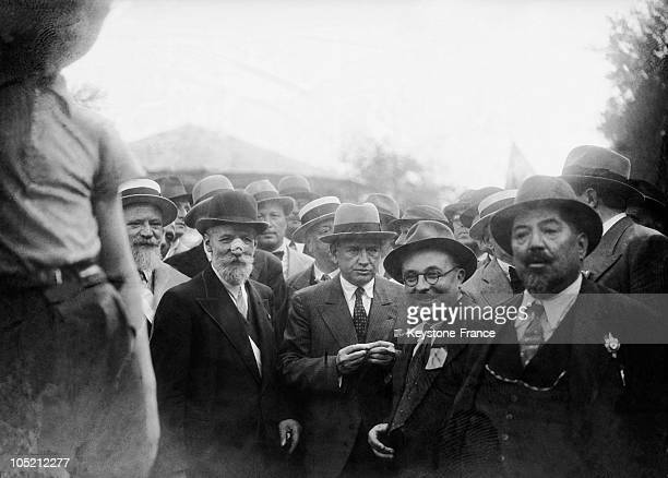 The Radical Edouard Daladie And The Communist Jacques Duclos At The Head Of The First Demonstration Of Leftist Parties Who Accepted A Pact Of United...