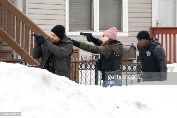 "The Radical Truth"" Episode 810 -- Pictured: Patrick John Flueger as Adam Ruzek, Marina Squerciati as Kim Burgess, Cleveland Berto as Andre Cooper --"