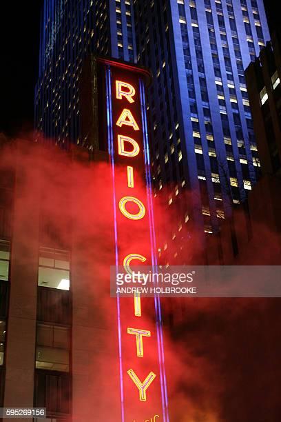 The Radio City Music Hall Sign at night