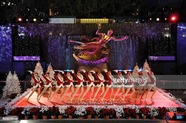 The Radio City Rockets perform onstage at the annual tree lighting ceremony and Christmas celebration at Rockefeller Center on December 3 2008 in New...