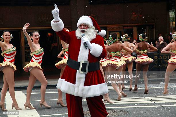 The Radio City Rockettes and Santa Claus perform during the 2010 Radio City Christmas Spectacular KickOff at Radio City Music Hall on August 12 2010...