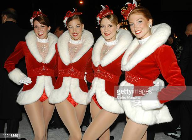 """The Radio City Rockettes during """"The Polar Express"""" New York Premiere at Ziegfeld Theater in New York City, New York, United States."""