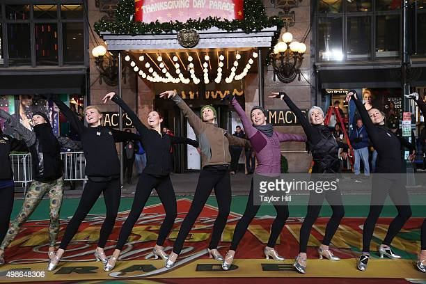 The Radio City Rockettes perform during Macy's Thanksgiving Day Parade rehearsals at Herald Square on November 24 2015 in New York City