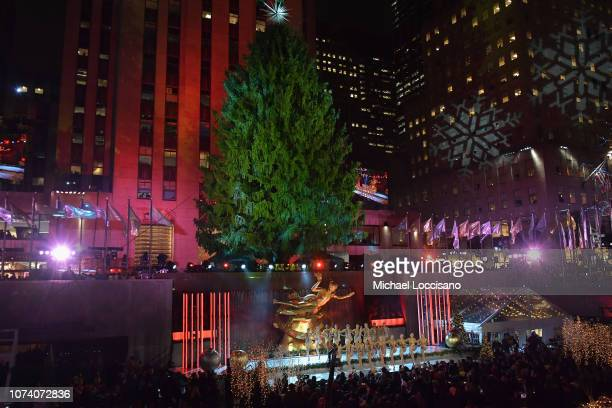The Radio City Rockettes perform during the 86th Annual Rockefeller Center Christmas Tree Lighting Ceremony at Rockefeller Center on November 28,...