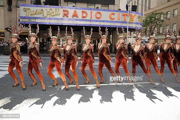 The Radio City Rockettes perform live for The Christmas Spectacular Christmas In August kick off event outside Radio City Music Hall on August 23...
