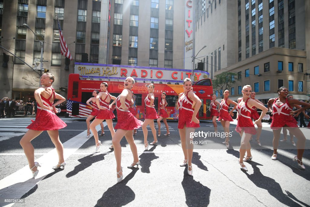 The Radio City Rockettes perform outside Radio City Music Hall on Sixth Avenue on August 17, 2017 in New York City.