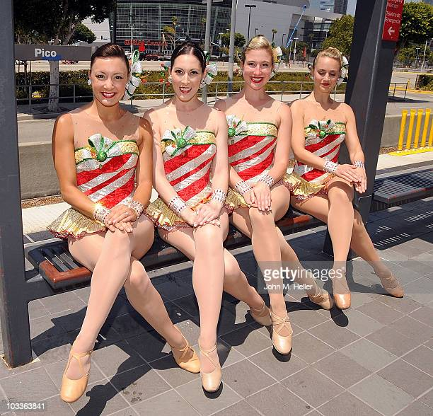 The Radio City Rockettes Traci Reszetylo Alyssa Epstein Laura Danelski and Katie Russell Kick Across America and online in support of the Los Angeles...