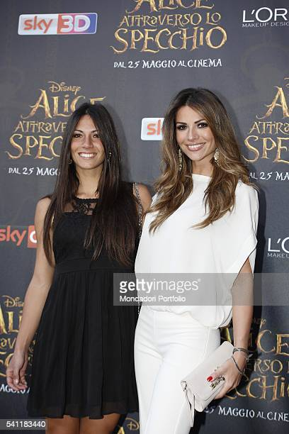The radio speaker Sara Ventura and Italian showgirl actress and TV presenter Alessia Ventura posing on the red carpet at the national premiere of the...