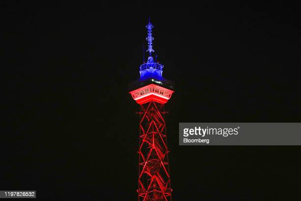 The Radio Tower which has been illuminated in red and blue to mark the day the UK leaves the European Union stands in Berlin Germany on Friday Jan 31...