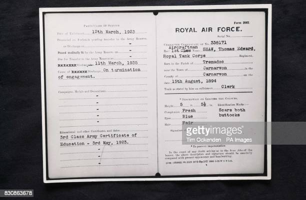 The RAF identification papers of Aircraftsman Thomas Edward Shaw the identity used by TE Lawrence one of the files released to the Public Record...