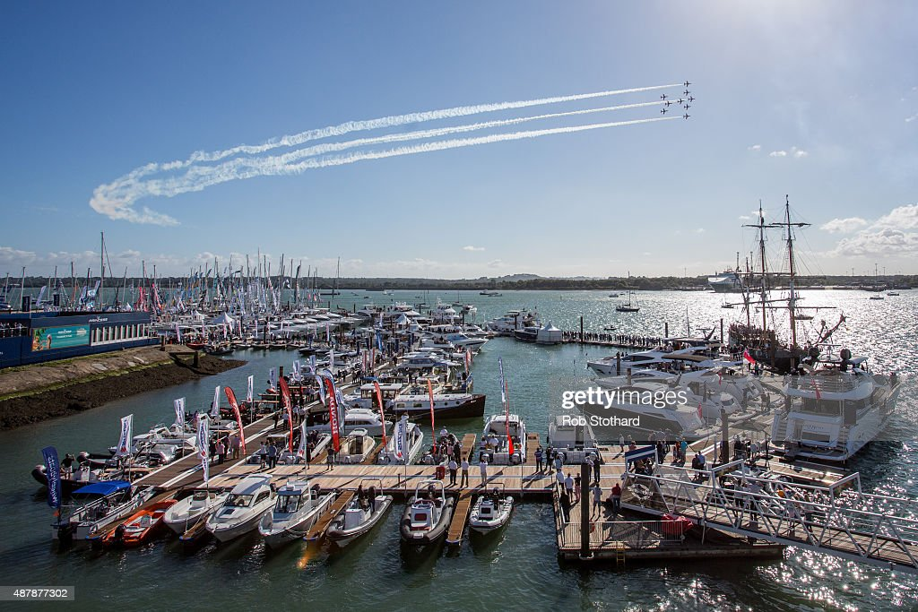 The RAF Red Arrows aerobatic display team perform as part of the Southampton Boat Show on September 12, 2015 in Southampton, England. For the first time since the Show began 47 years ago, the Red Arrows will be putting on a spectacular display on Saturday 12 September as visitors arrive at the Show for the opening weekend. The Southampton Boat Show is Europe's largest outdoor festival of boating with over 2km of pontoons. In addition to hundreds of boats, ranging from luxury powerboats right through to canoes, the Show also plays host to a number of family friendly attractions including the 100ft Honda Boat Show Eye.