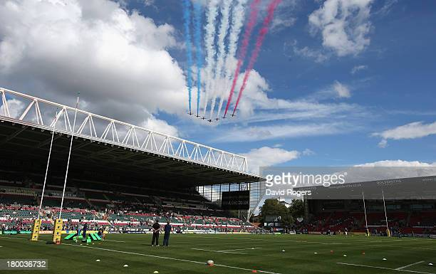 The RAF Red Arrows fly over Welford Road Stadium prior to the Aviva Premiership match between Leicester Tigers and Worcester Warriors at Welford Road...