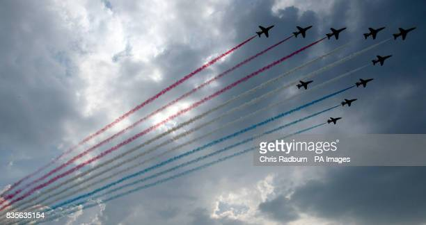 The RAF Red Arrows perform a flypast during the Armed Forces Day at the Historic Dockyard in Chatham Kent