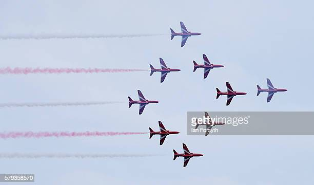 The RAF Red Arrows perform during the 28th Sunderland International Air show on July 23 2016 in Sunderland England Held over three days on and above...