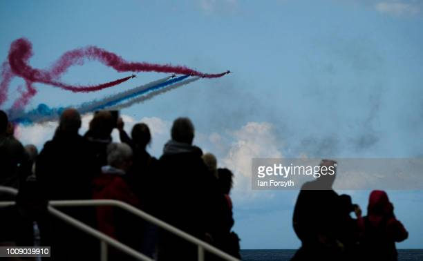 The RAF Red Arrows perform during the 30th Sunderland International Air show on July 28 2018 in Sunderland England Held over three days on and above...