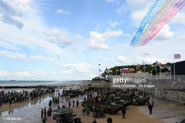 The RAF's Red Arrows fly over the beach at Arromanches in Normandy northern France during a ceremony to commemorate the 75th anniversary of the DDay...