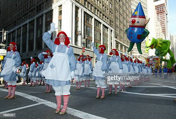 the Raggedy Anne troup performs at the 76th Annual Macy's Thanksgiving Day Parade in Herald Square November 28 2002 in New York City