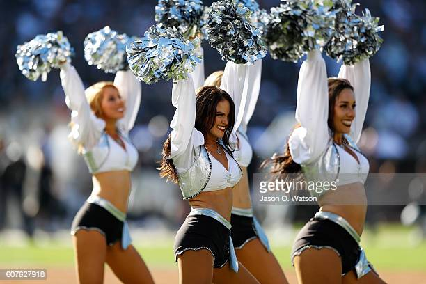 The Raiderettes perform during the NFL game between the Oakland Raiders and the Atlanta Falcons at OaklandAlameda County Coliseum on September 18...