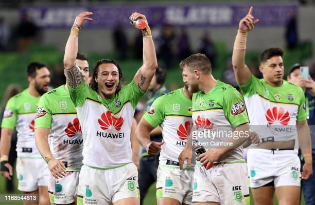 The Raiders celebrate after they defeated the Storm during the round 22 NRL match between the Melbourne Storm and the Canberra Raiders at AAMI Park...