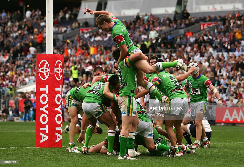 The Raiders celebrate winning the Under 20's Toyota Cup Final match between the Canberra Raiders and the Brisbane Broncos at ANZ Stadium on October 5, 2008 in Sydney, Australia.