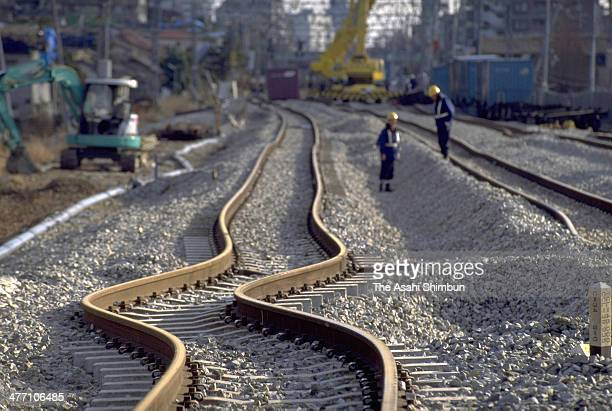 The rail of JR West was bent by the strong earthquake on Janaury 25 1995 in Kobe Hyogo Japan Magnitude 73 strong earthquake jolted in the morning of...