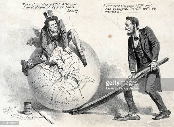 The 'rail splitter' at work repairing the union' Cartoon print shows Vice President Andrew Johnson sitting atop a globe attempting to stitch together...