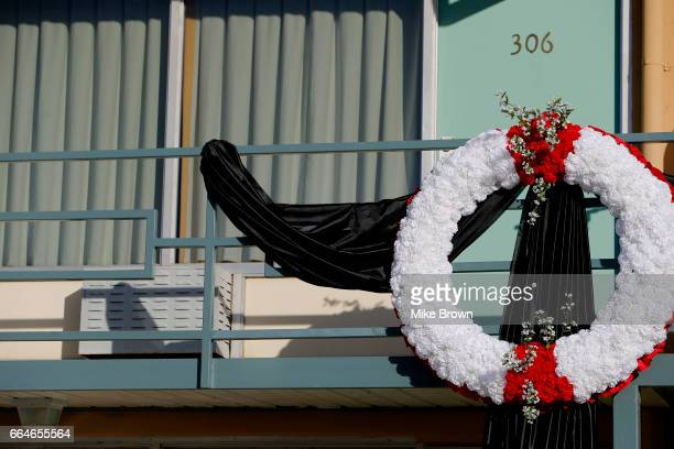 The railing outside room 306 of the Lorraine Motel now the National Civil Rights Museum is draped with black fabric and a new wreath on April 4 2017...