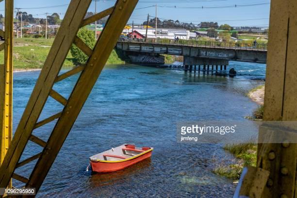 The Railway Bridge on Maullin river in Los Lagos Region,Chile