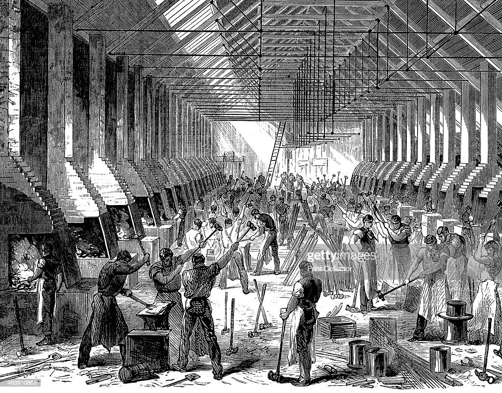 The Railway Carriage Company's works, Oldbury, West Midlands, 1869. The forge, showing the mass production of components at about 40 identical forges.