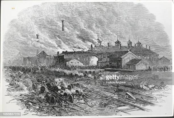 The railway riots in America Burning of the RoundHouse at Pittsburgh From the Illustrated London News August 18th 1877