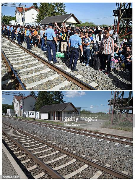 In this composite image a comparison has been made between a scene at a key location during the height of the 2015 migrant crisis last year and the...