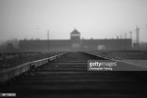 The railway track leading to the infamous 'Death Gate' at the Auschwitz II Birkenau extermination camp on November 13 2014 in Oswiecim Poland...