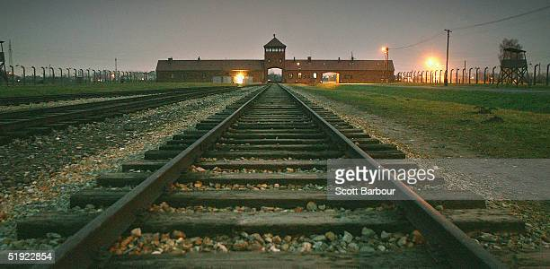 The railway tracks leading to the main gates at Auschwitz II - Birkenau seen December 10 the camp was built in March 1942 in the village of...