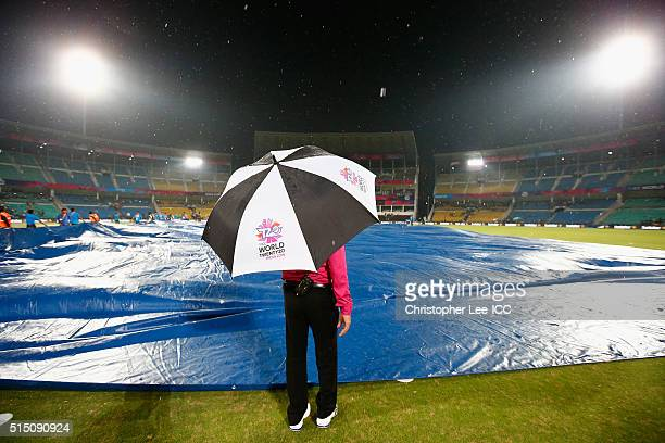 The rain delays play during the ICC Twenty20 World Cup Round 1 Group B match between Scotland and Hong Kong at the Vidarbha Cricket Association...