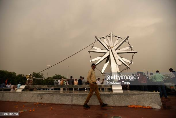 The rain in the evening disturbed the proposed event of the Inauguration of the Charkha Museum at Connaught Place on May 21 2017 in New Delhi India...