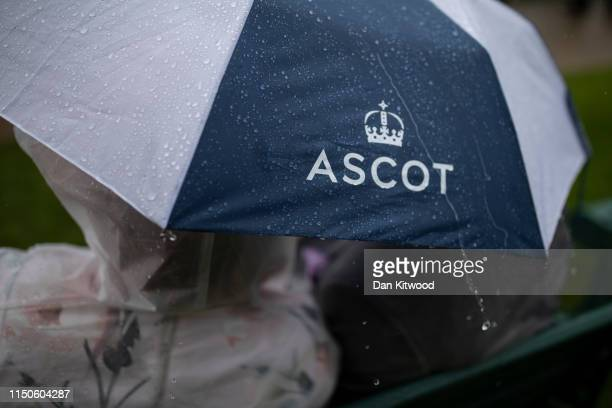 The rain pours down at the end of the first day at Ascot Racecourse on June 18 2019 in Ascot England The fiveday meeting is one of the highlights of...