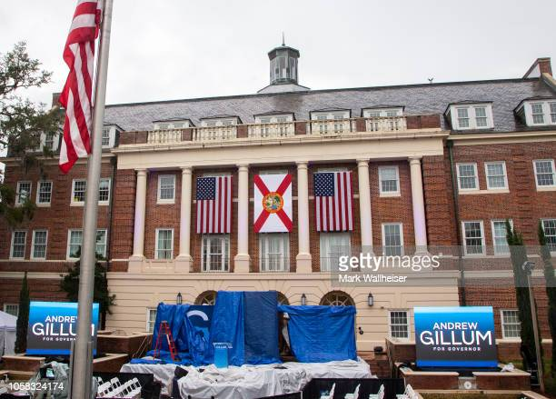 The rain pours down on the location for Florida Democratic gubernatorial candidate Andrew Gillum's election night watch party at Florida AM...