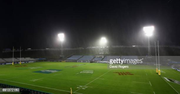 The rain pours during the British Irish Lions training session at Toll Stadium on June 2 2017 in Whangarei New Zealand