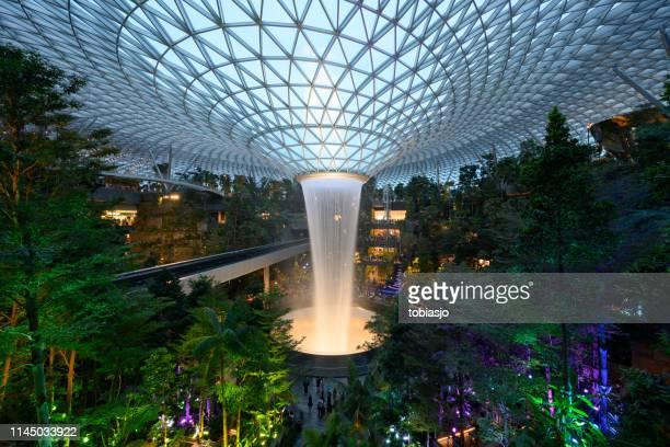 The Rain Vortex waterfall located inside the Jewel Changi Airport in Singapore